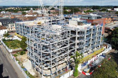 The steelwork of the CCOS building in St Albans, taken from the air using a drone