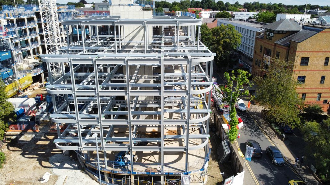 The steelwork at the CCOS project in St Albans