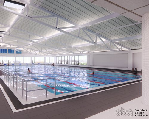 View of the design of the pool at the Great Yarmouth Marina Centre