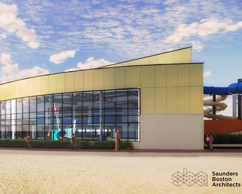 The proposed design for the front of the Great Yarmouth Marina Centre, as seen from the sea front