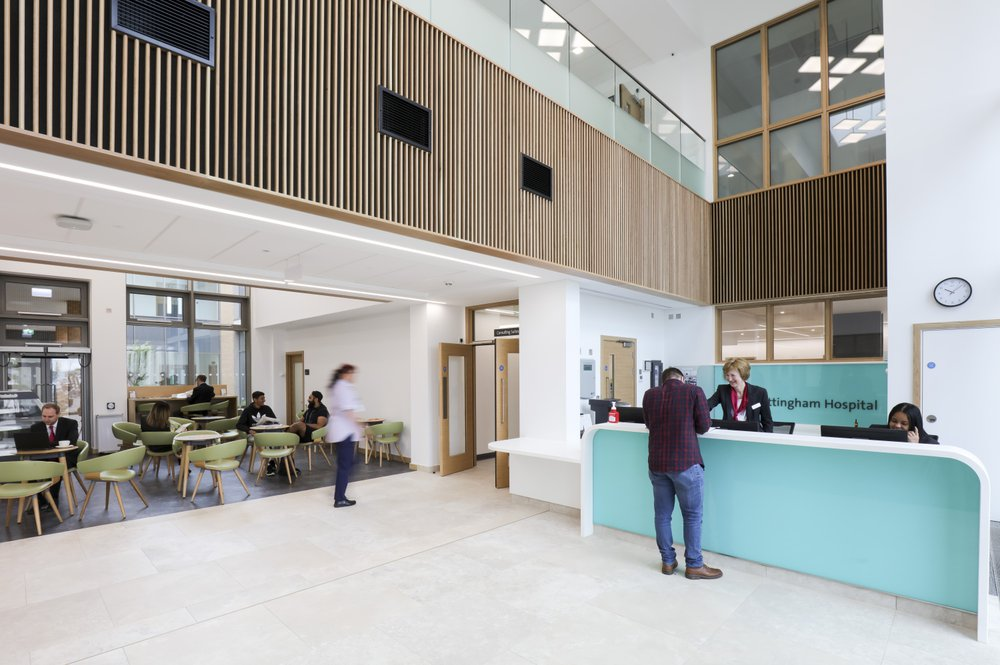 Reception atrium area of the Spire hospital showing the reception desk