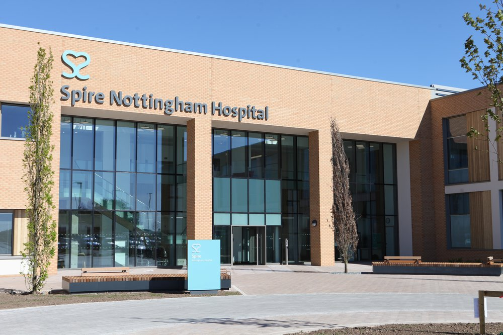 Close up of the front entrance to The Spire Hospital in Nottingham