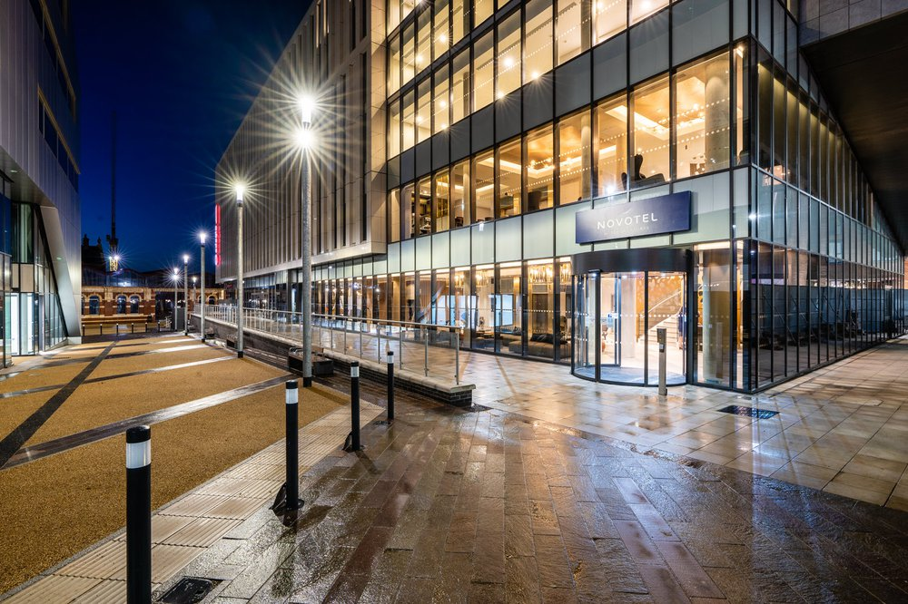 Exterior of Great Central Square, Leicester (Project Medius) at night
