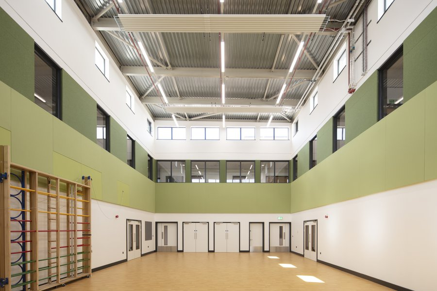 Castleward Primary Sports hall painted in olive green