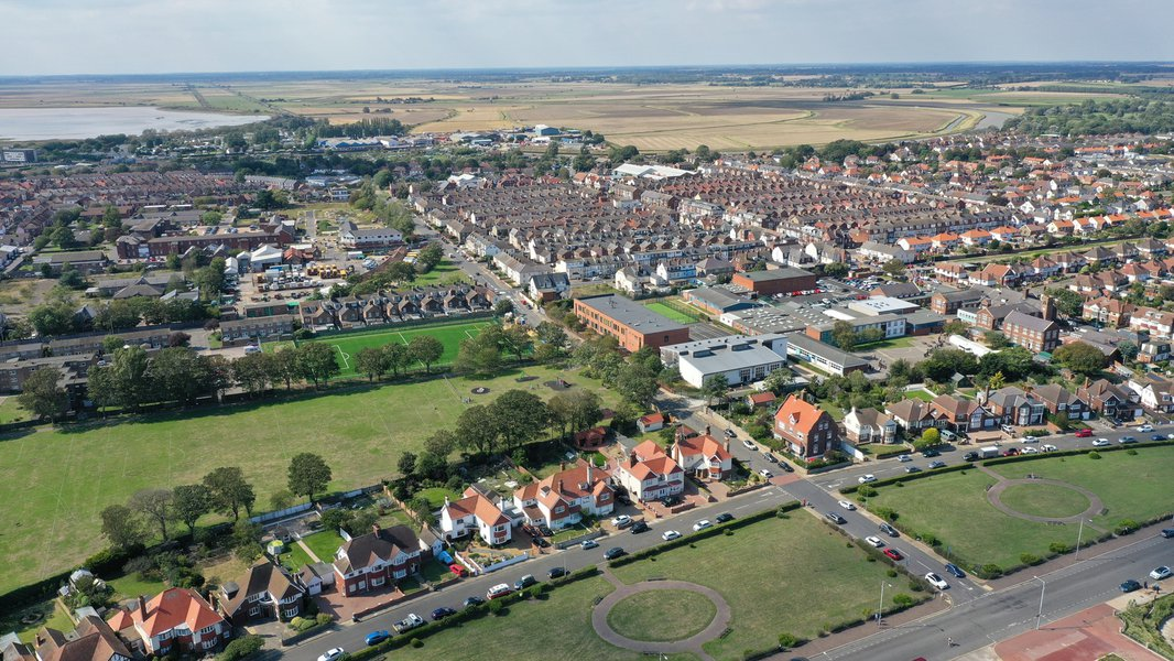 Aerial view showing the Great Yarmouth Charter Academy in the context of the town