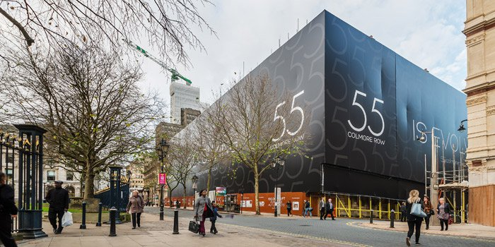 Image of the building wrap that was used to protect the existing grade two listed features