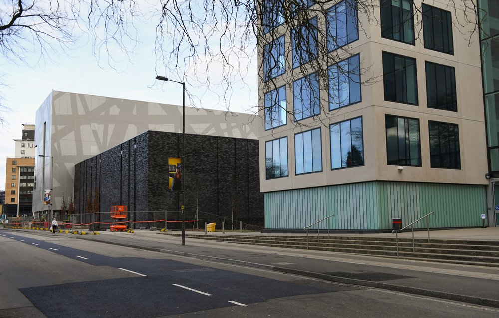 Southampton Solent Sports Complex, side view of the building taken from the pavement across the road