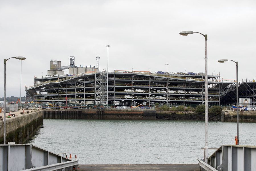 Picture of the Associated British Ports multideck, with a number of Jaguar Landrover vehicles in it before they're shipped overseas