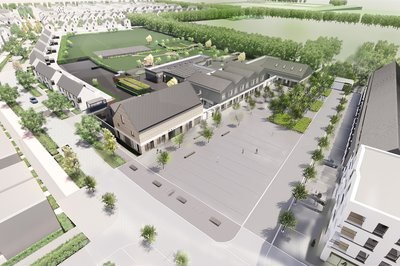 Outside, aerial view of the proposed design for Marleigh Primary Academy School