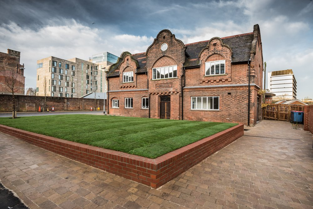 View of the pocket park area behind the All Saints Green project by Morgan Sindall Construction
