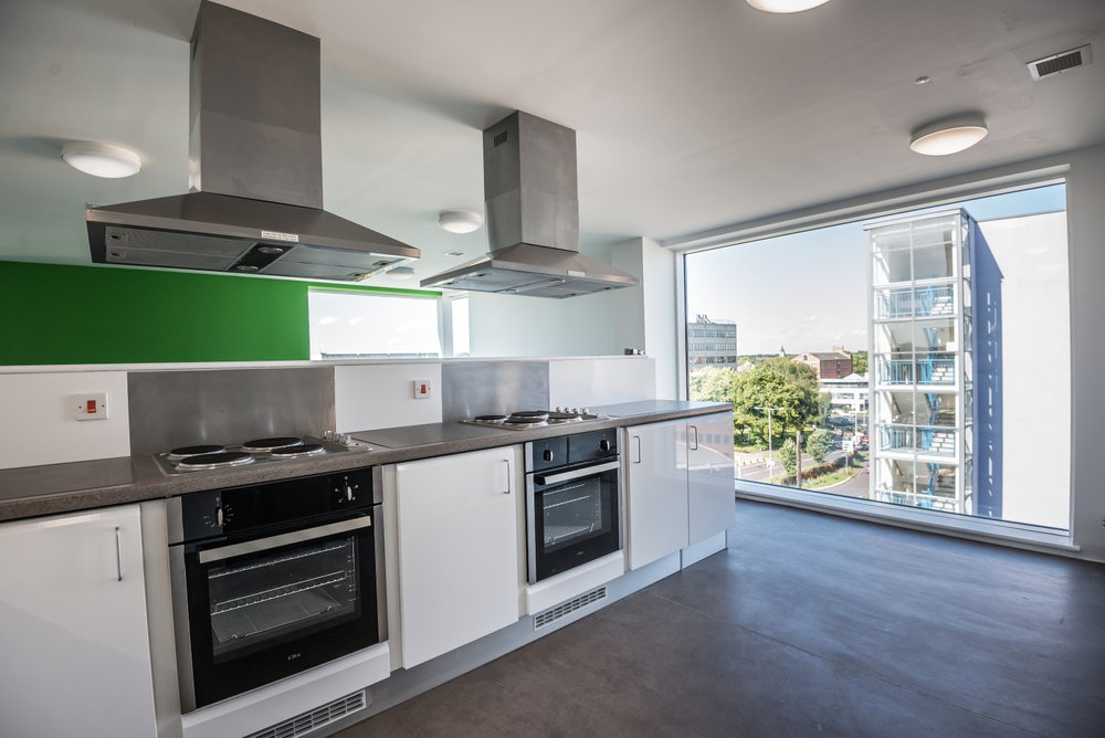 View of a kitchen area at the All Saints Green student accommodation for Norwich University of the Arts