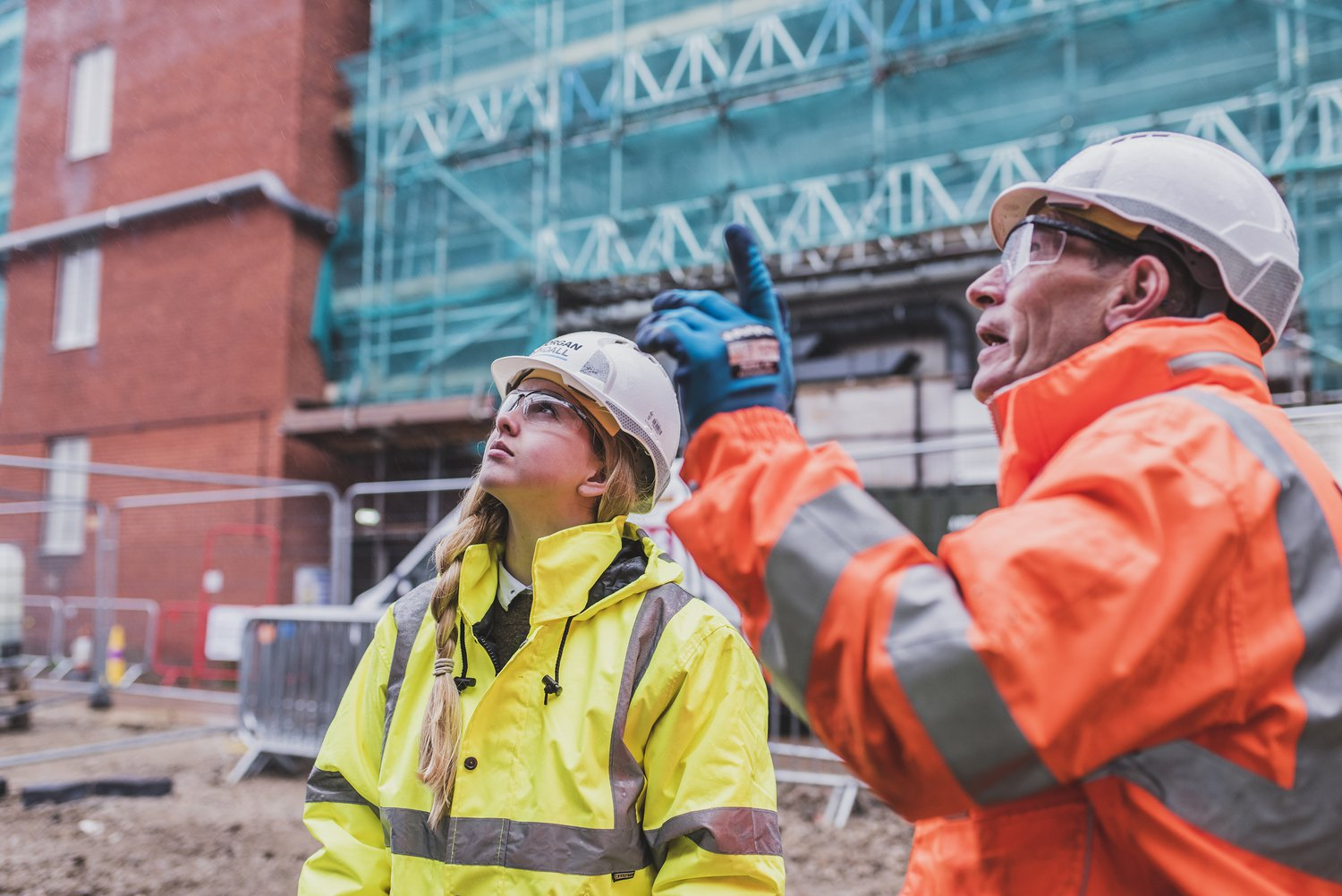 A picture of an apprentice on a site visit during the construction process