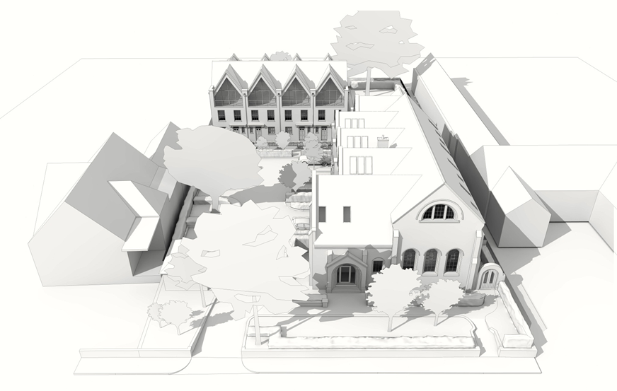 Black and white artists impression of the Museum of St Albans residential project