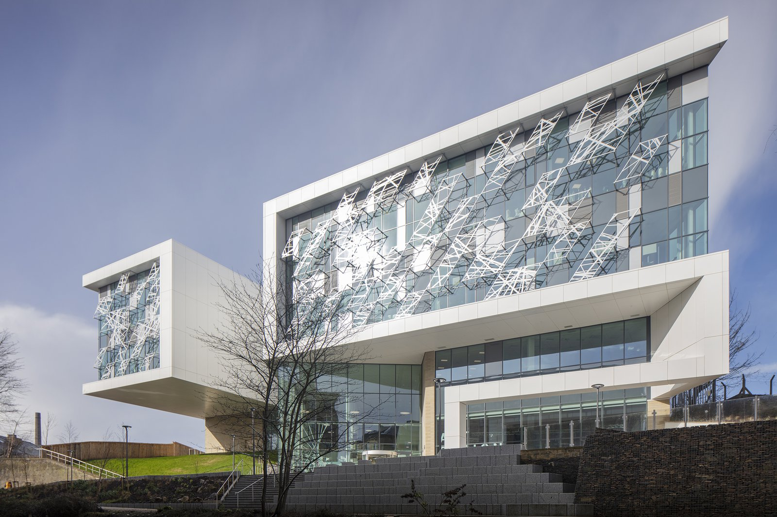 Image of the front of the Barbara Hepworth Building, School of Art and Design for University of Hudderfield