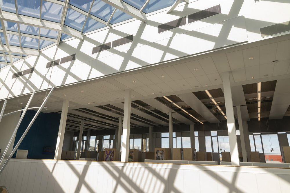 Image of the glazing and atrium at the Barbara Hepworth Building, University of Huddersfield