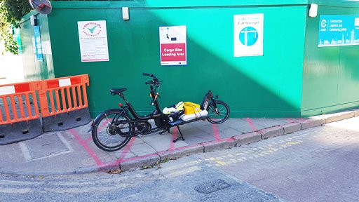 Bike delivery used on construction site