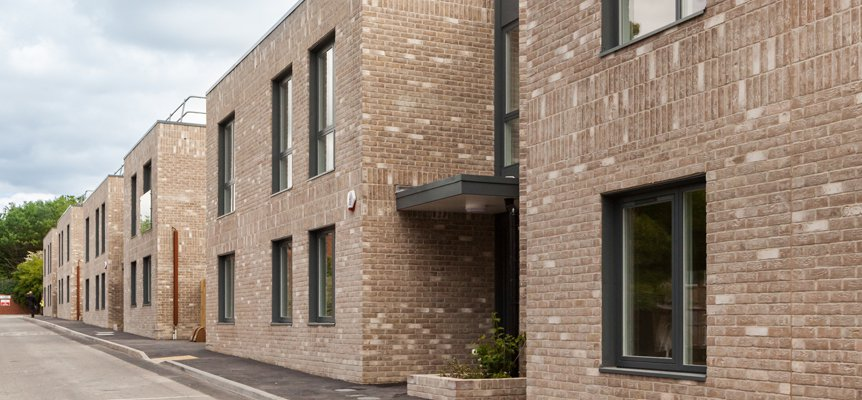 Image of the completed row of 12 homes in Buckley Close in Brighton