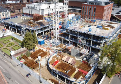 Aerial view of the CCOS residential site in St Albans taken in May 2021