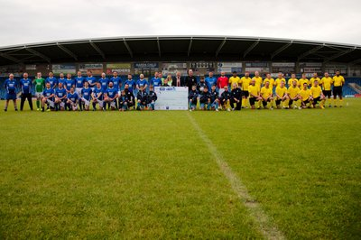 Picture of the teams involved in Morgan Sindall Construction's charity football match in Wakefield