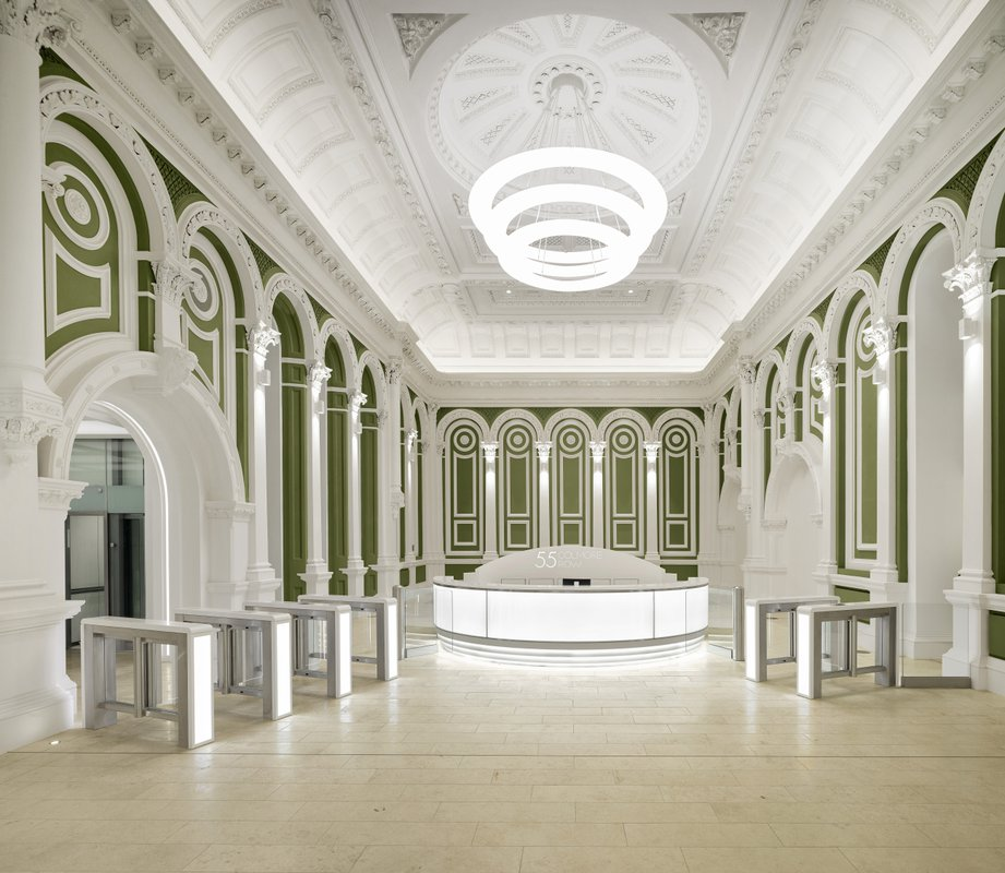 Grade two listed reception area of 55 Colmore Row in Birmingham