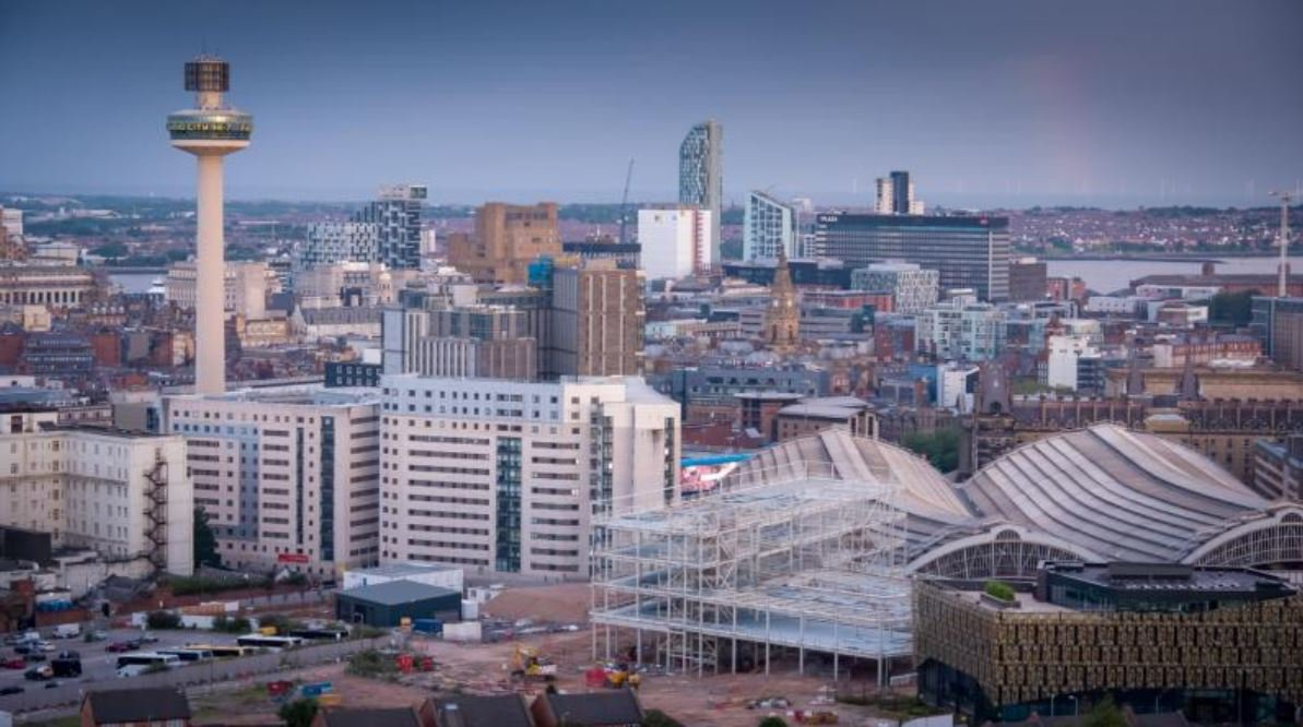 Aerial view of the Morgan Sindall Construction Copperas Hill project in Liverpool