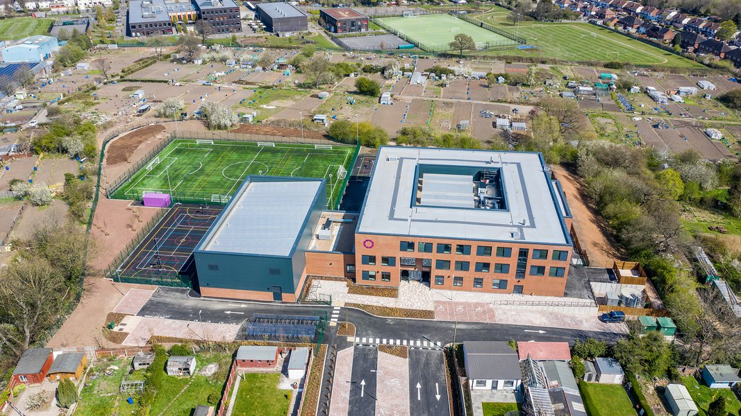 Aerial view of the completed Eden Girls Academy in Birmingham