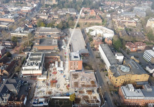 Aerial view of the CCOS project in St Albans taken from a drone