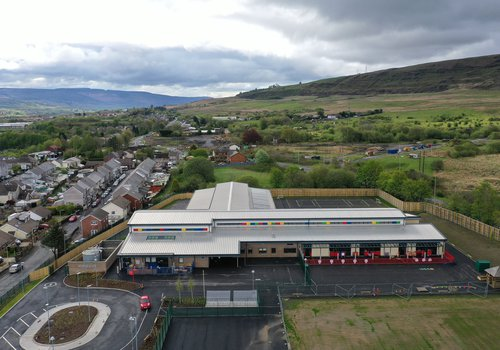 Aerial view of the Hirwuan School project in Wales