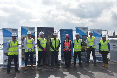 The Morgan Sindall, St Marks School and Faithful and Gould Project team on the roof of the building at the topping out event