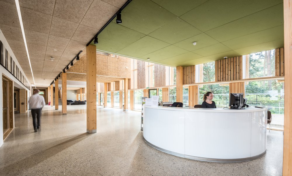 Reception area of the Enterprise Centre which features a number of natural products including local timber and thatching materials