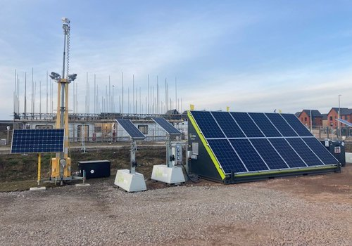 Picture of the GFS solar container which is currently on the Glebe School construction site