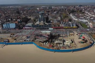 Aerial image showing the progress of the Great Yarmouth Marina Centre