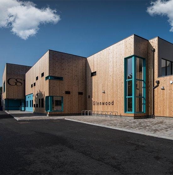 Image of Glenwood School in Essex to show the wooden cladding which is on the whole of the building