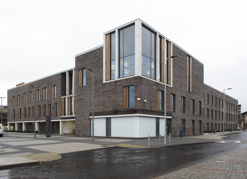 Exterior of the Gorbals health centre in Scotland