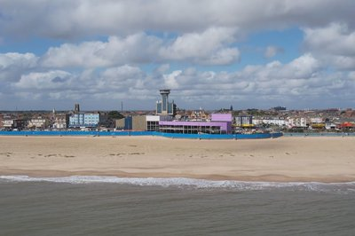 The Leisure Centre on Great Yarmouth seafront from a distance, image taken from drone flight coming in across the sea