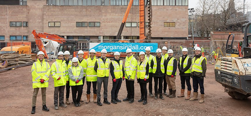 Image of the Morgan Sindall Construction team and stakeholders at the Vita Student Accommodation site in Nottingham