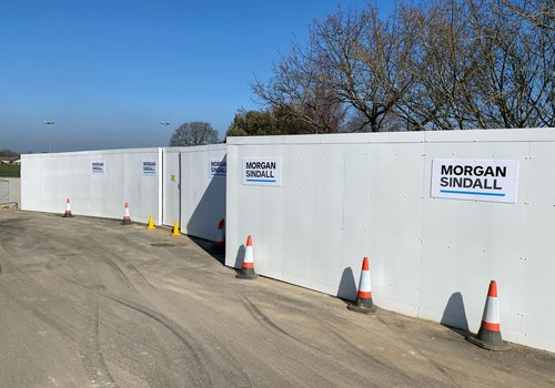 picture of the hoardings outside the Morgan Sindall Construction Hailsham Community College Academy Trust project