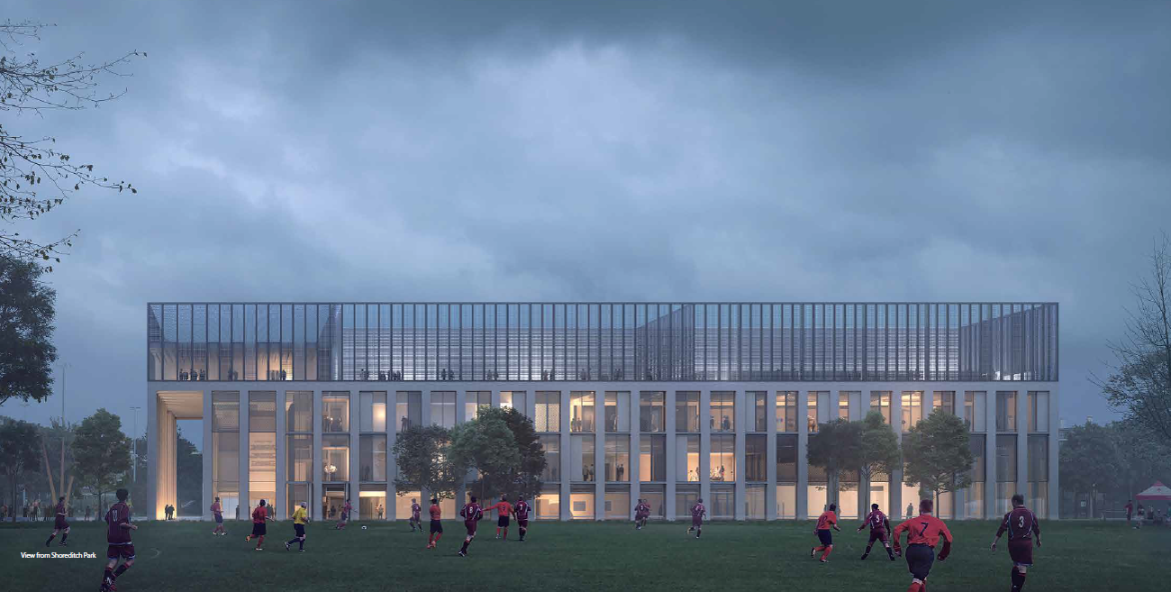 Image of the proposed Hackney Britannia Project in London, image of the Leisure Centre design