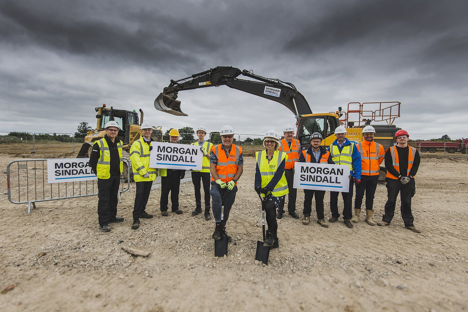 Picture of the Morgan Sindall Construction team and stakeholders at the Hethersett Primary School ground breaking event