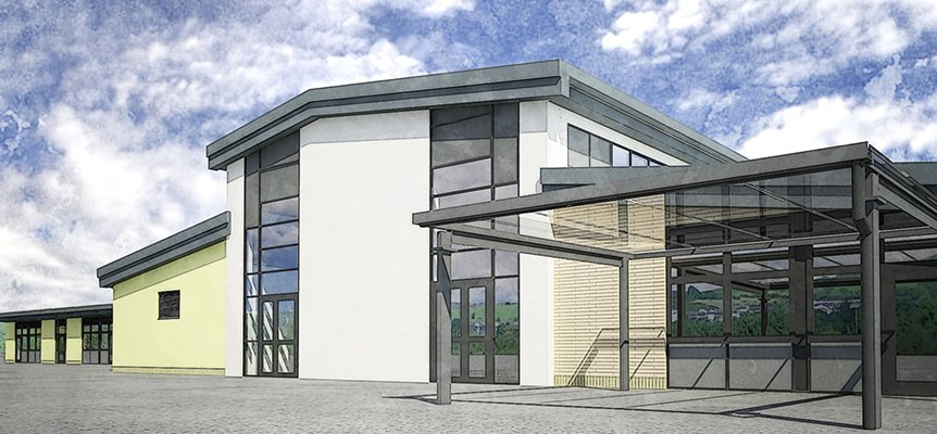Image of the proposed Hirwuan Primary School in South Wales