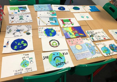 Environmental themed posters designed by school children for hoarding competition