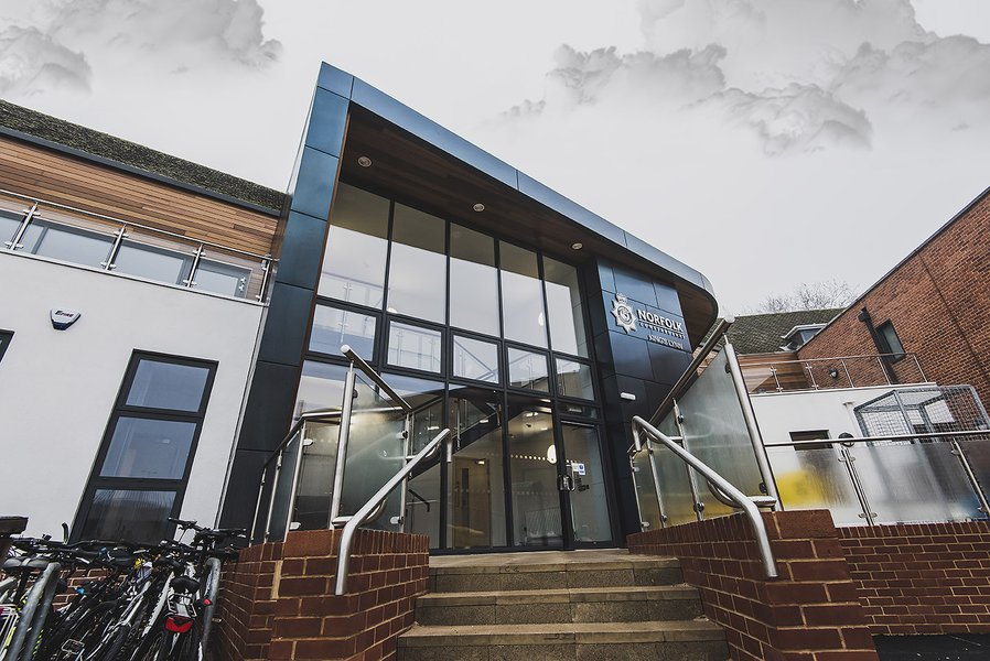 Front of the Kings Lynn Police station, showing steps up to the main entrance