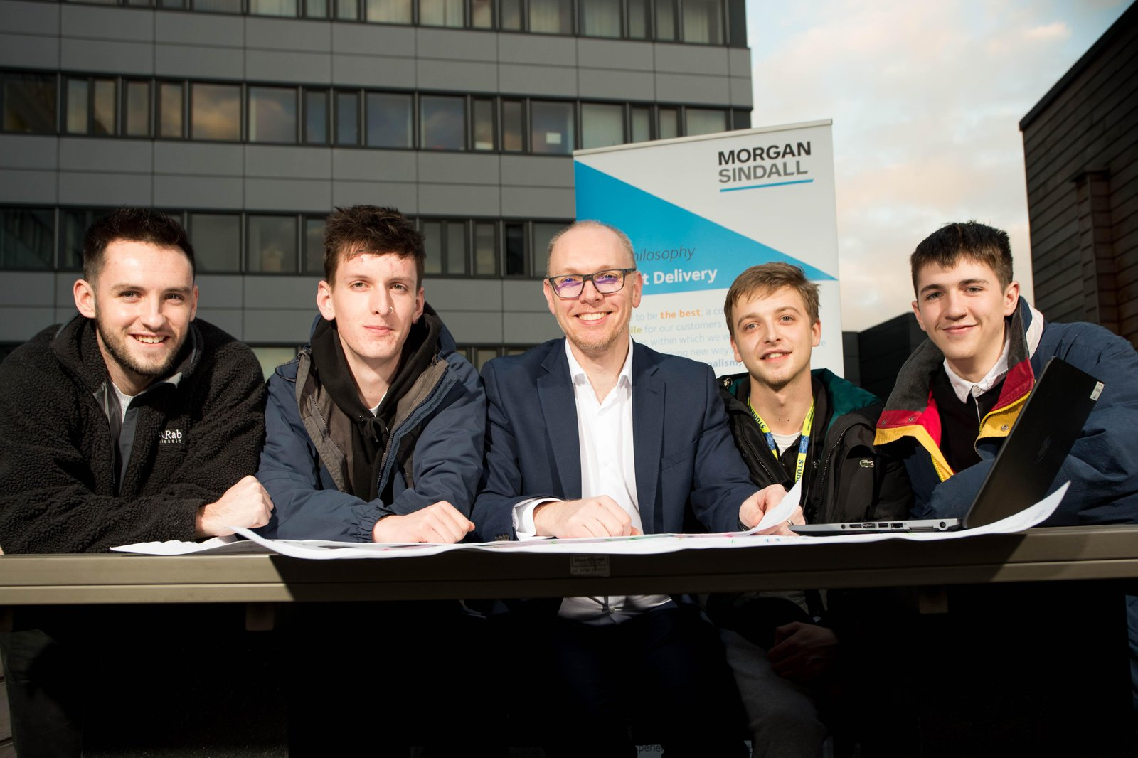 The group of students taking part in the CIOB challenge - Kyle Dougan Alex Dawes Owen Ashton Ben Tregear Jack Heaney