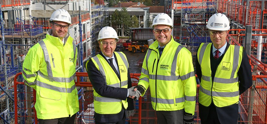 Image of the Morgan Sindall Construction team and stakeholders involved in the Arts University Bournemouth project
