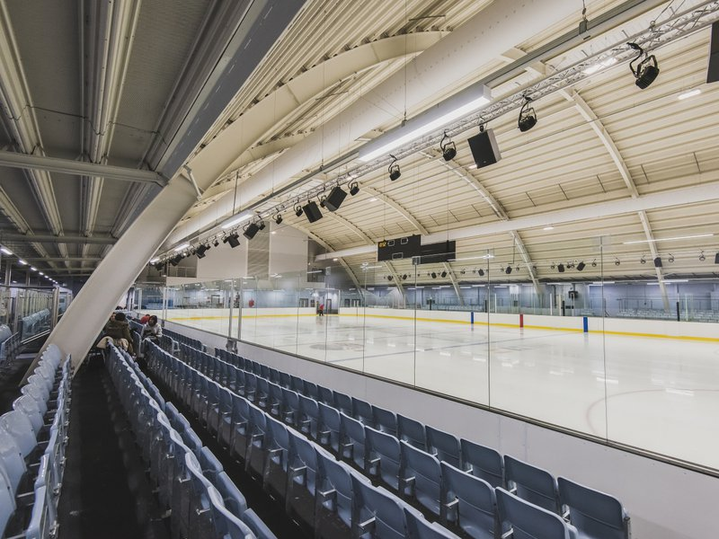 Image shows the ice rink at the Montem Ice arena in Slough, with people skating on the ice