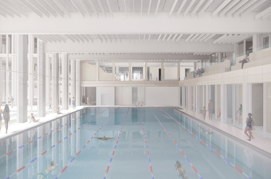 Design for the pool area at Woolwich Leisure Centre