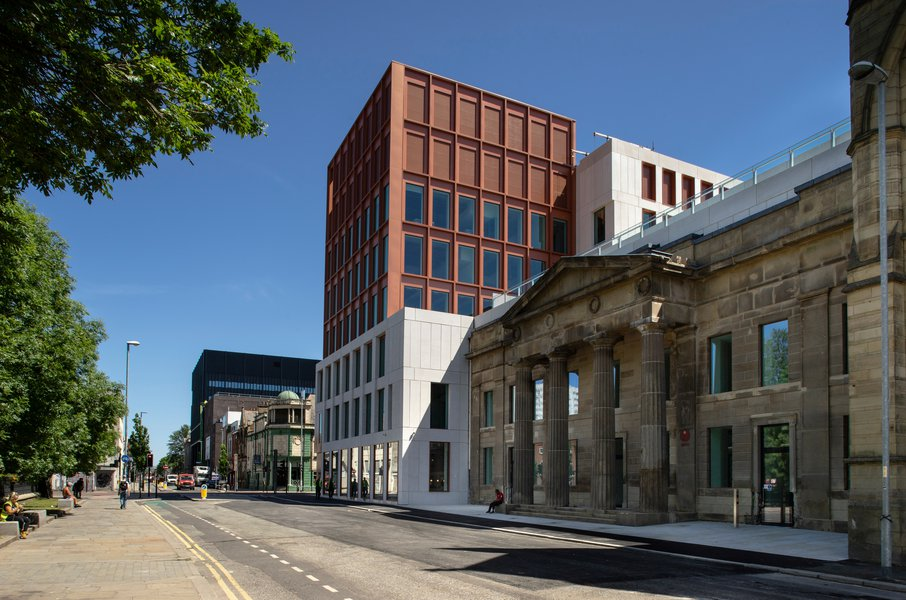 PIcture of the side of the Manchester Metropolitan Arts and Humanities building