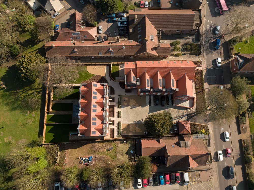 Aerial view of the completed Museum of St Albans residential scheme