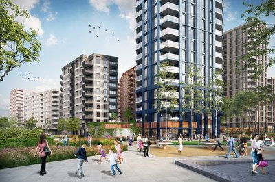 Proposed design for the Manor Road, Canning Town project, view from the park
