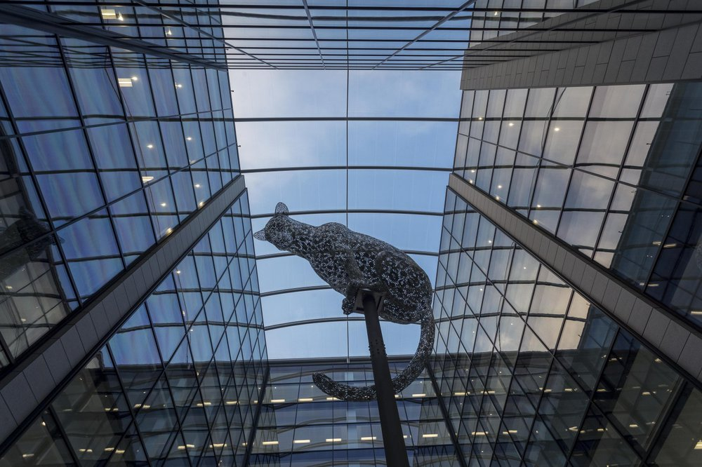 A leopard sculpture located in the centre of the glass atrium at Marischal Square in Aberdeen